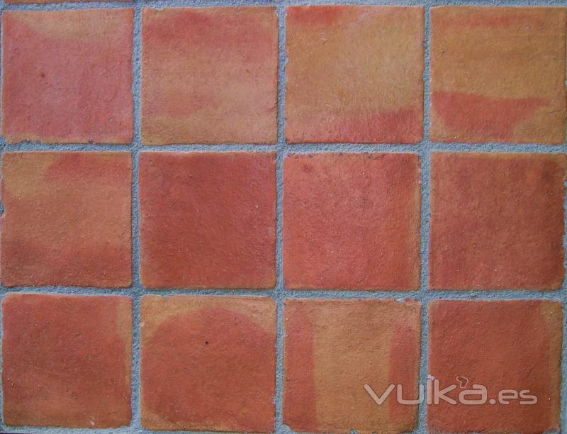 Foto baldosa de barro cocido color flameado manual for Textura baldosa