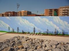 Mural de nubes para un nuevo parque p�blico en Matar� (Bcn)