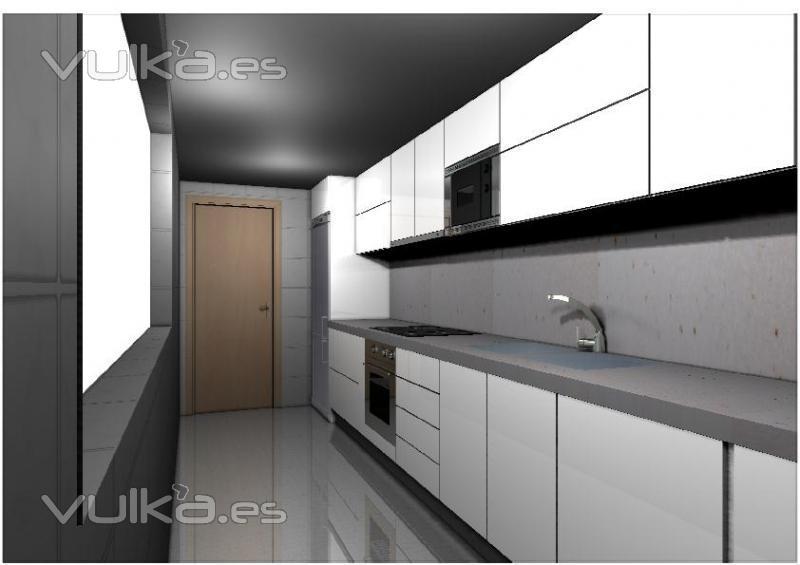 Foto joaqu n kansas city cocina postformada en blanco - Cocinas blancas y gris ...