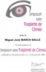 Symposium sobre transplante de córnea. alicante. junio 1998.