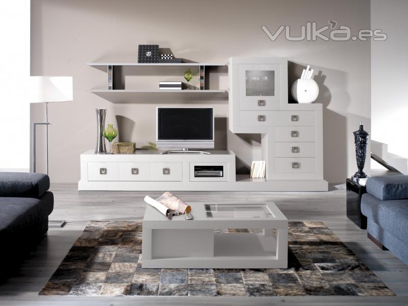 Foto salon lacado blanco - Muebles lacados en blanco brillo ...