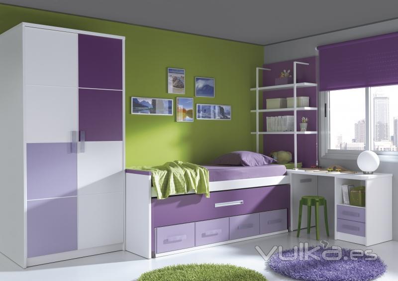 Foto juvenil blanco morado - Colores para pintar habitacion juvenil ...