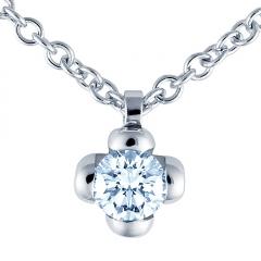 Colgante con cadena de oro blanco de 18 kilates modelo flor con diamante talla brillante