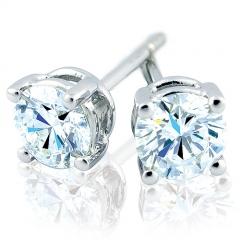 Pendientes dormilona de oro blanco de 18 kilates con diamantes talla brillante