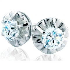 Pendientes de oro blanco de 18 kilates con diamantes talla brillante