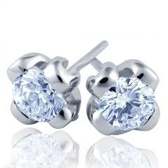 Pendientes de oro blanco de 18 kilates con diamantes talla brillante modelo flor