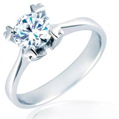 Anillo solitario de compromiso con diamante talla brillante 4 garras en flecha