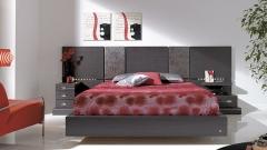 Dormitorio  moderno color ceniza con cabezal tapizado