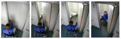 Puerta ahorro espacio de facil manejo para discapacitados