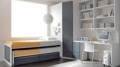 Dormitorio juvenil con compacto en color tejano