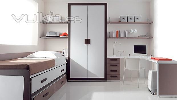 Foto dormitorio juvenil con compacto y armario com marco for Mueble compacto juvenil