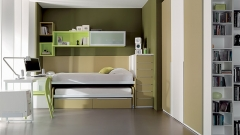 Dormitorio juvenil en colores verdes