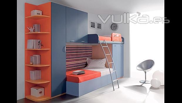 Foto dormitorio juvenil con tren con cama superior for Dormitorio juvenil tren
