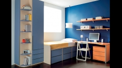 Dormitorio juvenil con compacto y armario con estantes