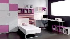 Dormitorio juvenil con cama con panel tapizado