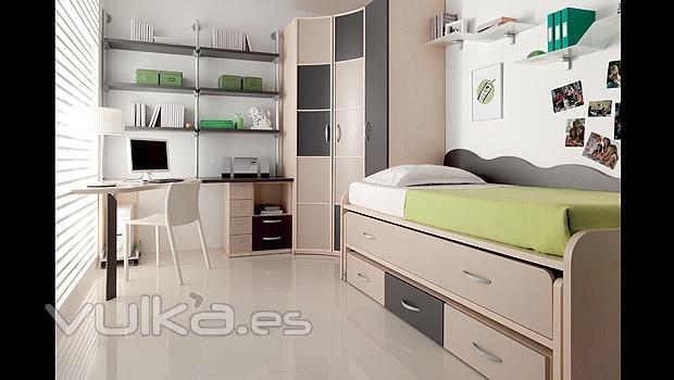 Foto dormitorios juveniles con compacto con cama de arrastre for Compactos juveniles