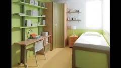 Dormitorio juvenil con armario rincon en colores verdes