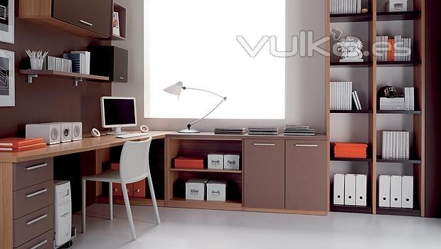 Foto dormitorio juvenil estudio con colores tierra for Muebles de estudio modernos