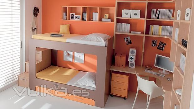 Foto dormitorio juvenil con litera y zona estudio con - Estantes dormitorio juvenil ...