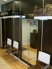Bottier calzado. panelado wenge con cremallera de aluminio y espejo enmarcado.