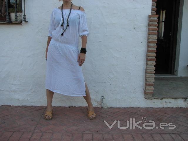 vestido largo algodon talla unica colores surtidos