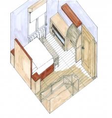 Primeras perspectivas a mano para proyecto de reforma de habitación