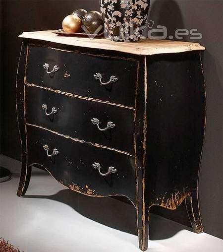 Foto c moda estilo franc s envejecida negro decapado - Decapado de muebles ...