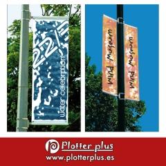 Banner automontable impreso en lona plástica