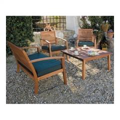Set madera de 2 sillones + mesa + banco tehoma
