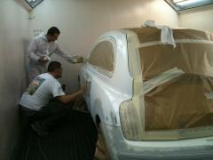 Preparacion en cabina pintura