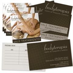 Tarjetas y vales de fidelización para centro de estética Bodyterapia