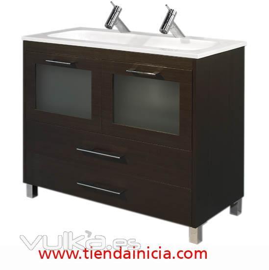 Foto mueble mb01 100 cm con 2 senos for Muebles de bano 2 senos