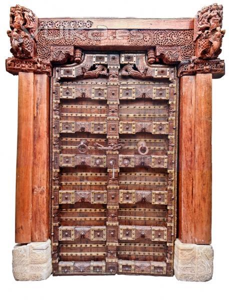 Foto puerta antigua mod 20015 p135 madera de teca y - Zocalos de piedra ...