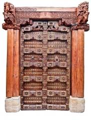 Puerta antigua mod. 20015-p135 madera de teca y z�calos de piedra
