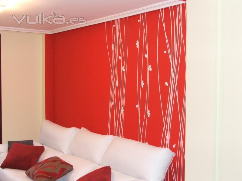 Foto vinilo decorativo sobre gotele for Vinilos para gotele