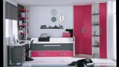 Mobiliario juvenil con compacto y arrastre combinado en color gris y fucsia