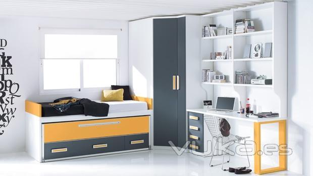 Foto dormitorio juvenil con zona estudio con estanterias - Estanterias para habitaciones juveniles ...