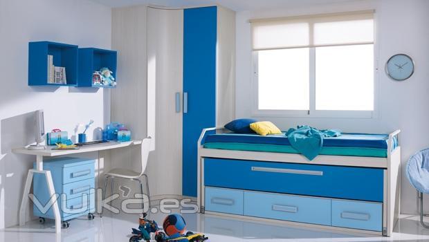 Foto armario rincon y compacto con zona estudio en - Habitaciones infantiles azules ...