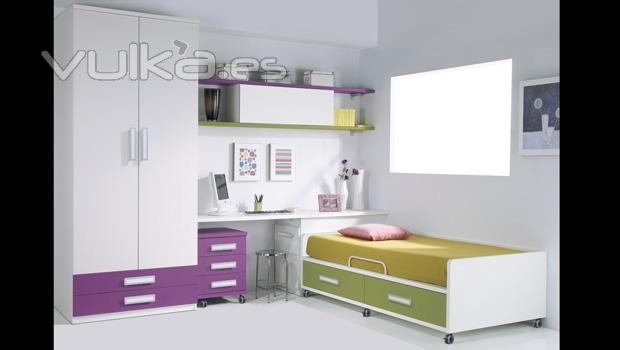 Foto cama con ruedas y armario de puertas baientes - Ruedas para cama ...