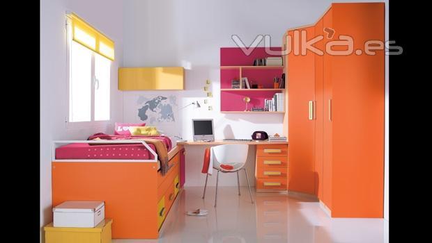 Foto armario rincon y compacto en color naranja - Colores para dormitorio juvenil ...