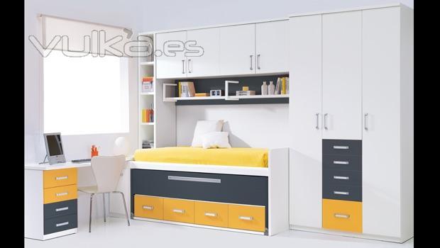 Foto dormitorio juvenil en color blanco con puente for Mueble puente juvenil
