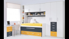 Dormitorio juvenil en color blanco con puente. dormitorio juvenil whynot new