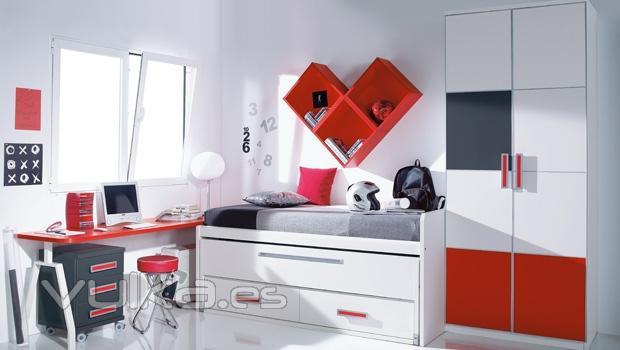 Foto mobiliario juvenil en color blanco y rojo for Mobiliario dormitorio infantil