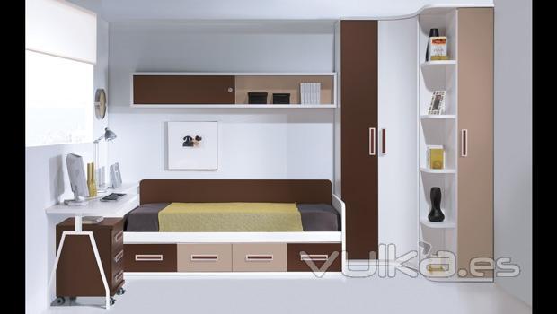 Foto armario rincon en colores tierra y chocolate - Merkamueble armarios dormitorio ...