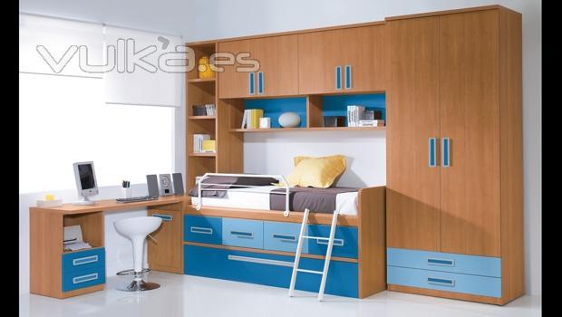 Foto mobiliario juvenil color cerezo con puente for Mueble puente juvenil