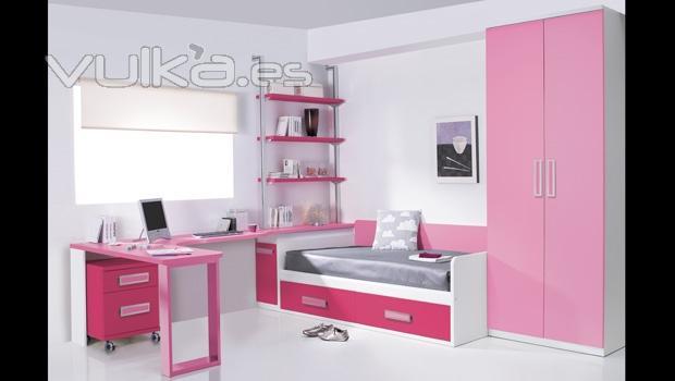 Foto mobiliario juvenil en color rosa dormitorio juvenil for Mobiliario dormitorio juvenil