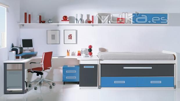 Foto compacto y zona estudio con galeria y estante - Estantes dormitorio juvenil ...