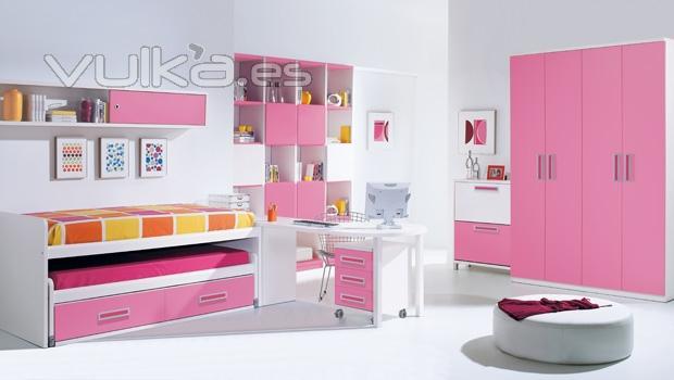 Foto habitacion juvenil con compacto en color rosa - Dormitorios color rosa ...