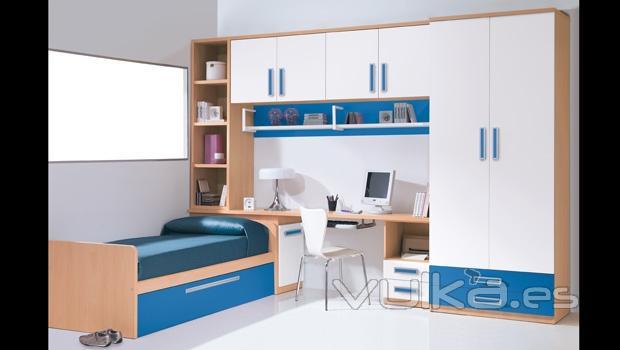 Foto habitacion juvenil con puente en color haya for Mueble puente juvenil