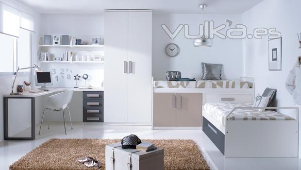 Foto habitacion juvenil en blanco catalogo juvenil - Habitacion juvenil blanca ...